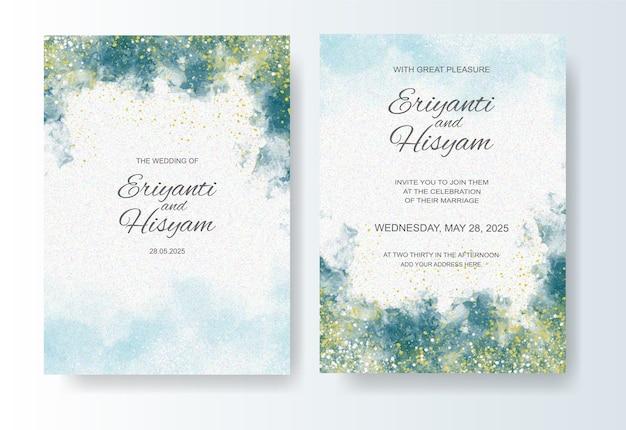 Modello di invito a nozze con schizzi di inchiostro dell'acquerello