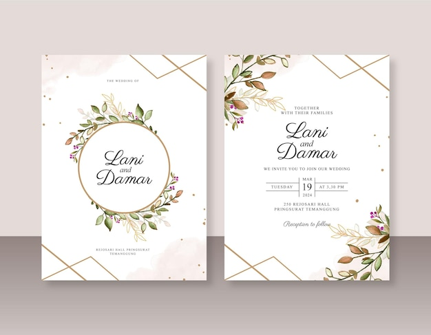 Modello di invito a nozze con foglie acquerello e geometrico