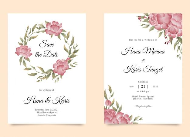 Modello di invito a nozze con decorazione floreale di peonia dell'acquerello