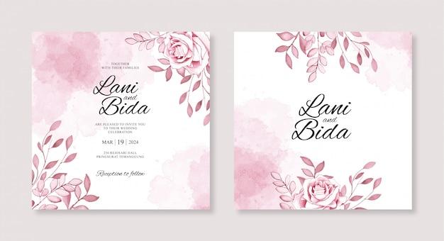 Modelli di invito di nozze con fiori e schizzi ad acquerelli