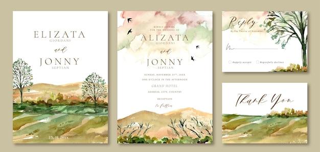 Invito a nozze modello acquerello paesaggio di alberi e vista sulle montagne