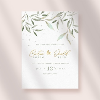 Invito a nozze con foglie artistiche acquerello