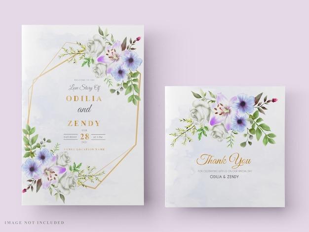 Invito a nozze con bellissimo disegno floreale ad acquerello