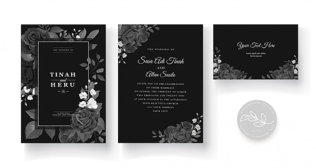 Invito a nozze con bel design decorazione floreale