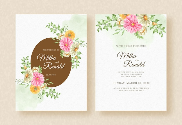 Invito a nozze con l'angolo del bouquet di fiori splash sfondo acquerello