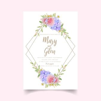 Invito a nozze con rose rosa floreali e ortensie