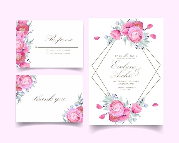 Invito a nozze con ranuncolo floreale e fiori di papavero