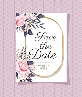 Invito a nozze con cornice ornamento d'oro e fiori di rose su sfondo viola