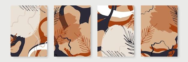 Invito a nozze con foglie, oro, modello nero, design di copertine artistiche, trama colorata, sfondi moderni. motivo alla moda, brochure grafica in oro. illustrazione vettoriale di lusso