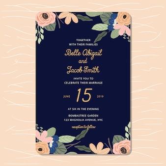 Invito a nozze con sfondo blu marino e floreale