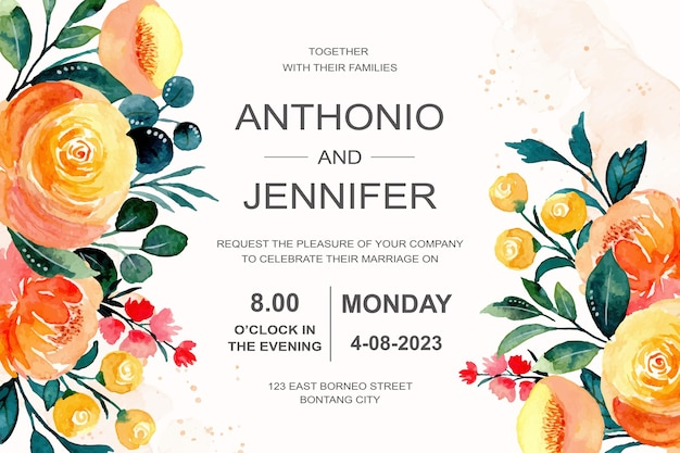 Invito a nozze con acquerello floreale arancione