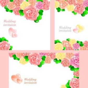Invito a nozze con belle rose di diversi formati