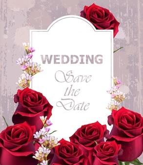 Invito a nozze con rose realistiche