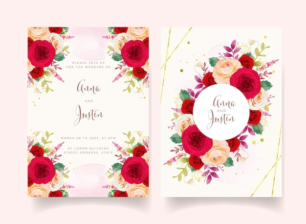 Invito a nozze con fiori di rose rosse