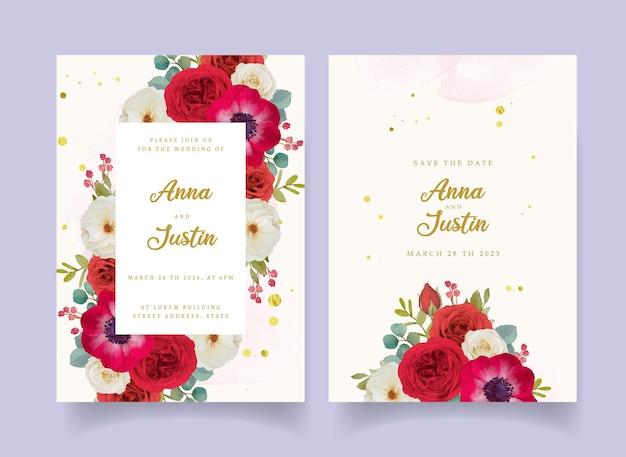 Invito a nozze con fiori rossi ad acquerello