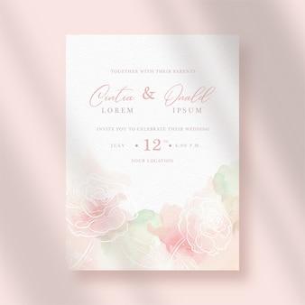 Invito a nozze con fiori splash e line art