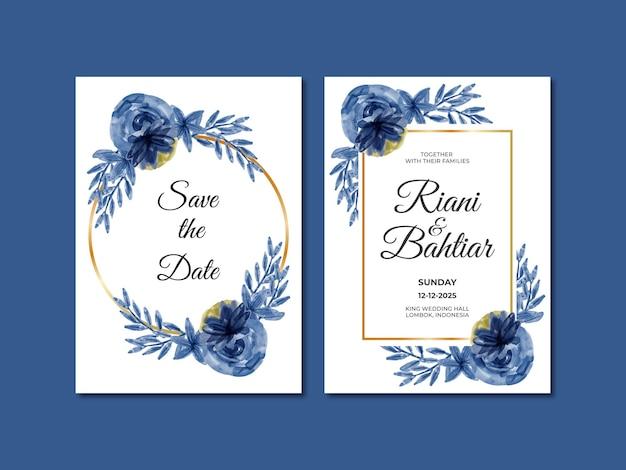Invito a nozze con fiori blu acquerellati