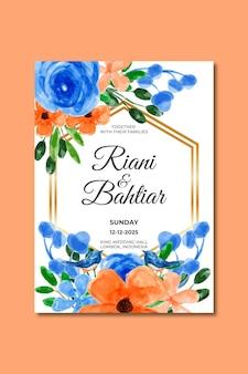 Invito a nozze con fiori d'arancio blu acquerello