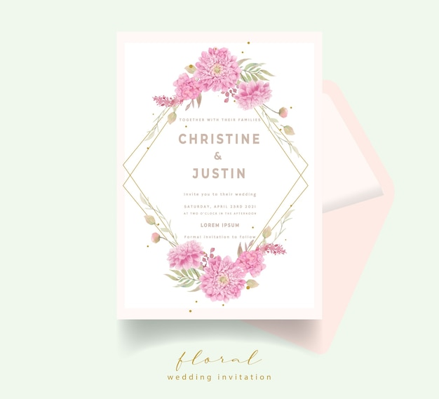 Invito a nozze con fiori di dalie dell'acquerello