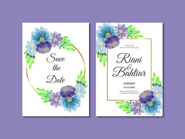 Invito a nozze con fiori ad acquerello