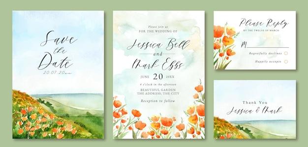 Invito a nozze con paesaggio ad acquerello di ocean beach e campo floreale
