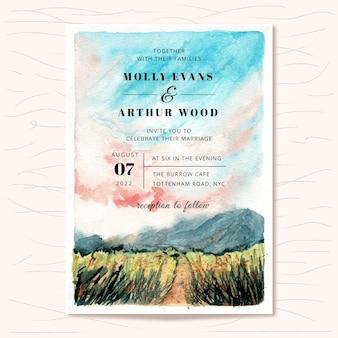 Invito a nozze con paesaggio di montagna dell'acquerello