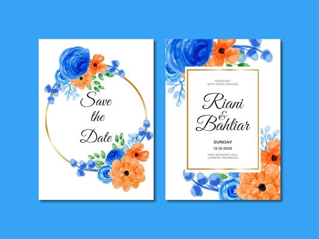Invito a nozze con fiori arancioni blu acquerellati