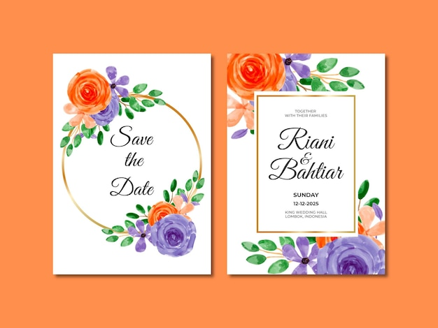 Invito a nozze con fiori viola arancioni ad acquerello