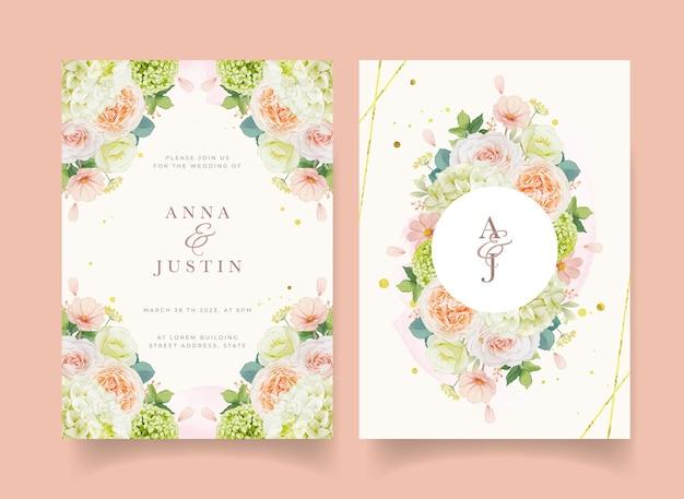 Invito a nozze con rose pesca ad acquerello e fiore di ortensia