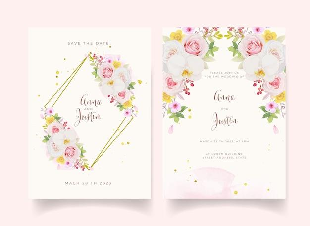 Invito a nozze con rosa rosa acquerello e orchidea