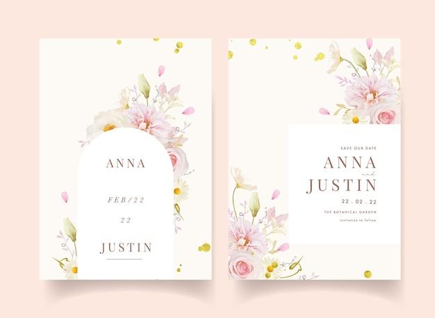 Invito a nozze con rose rosa acquerello dalia e peonia bianca
