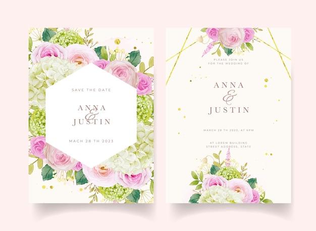 Invito a nozze con rose rosa acquerellate e ortensie