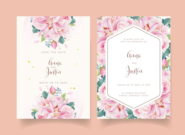 Invito a nozze con rose rosa acquerello giglio e dalia