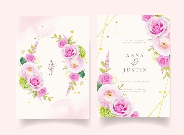 Invito a nozze con rose rosa acquerellate