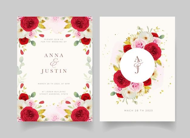 Invito a nozze con rose bianche e rosse rosa dell'acquerello