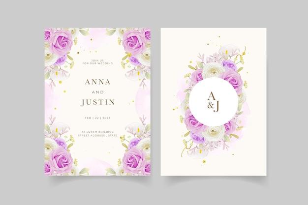 Invito a nozze con giglio rosa viola acquerello e fiore di ranuncolo