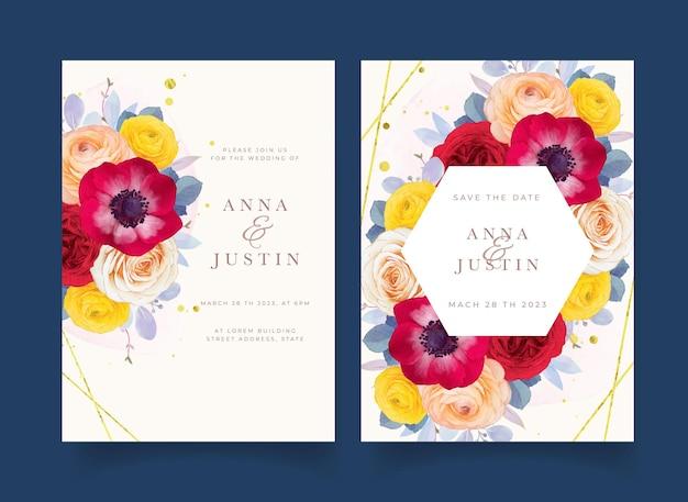 Invito a nozze con anemone rosa rossa acquerello e fiore di ranuncolo