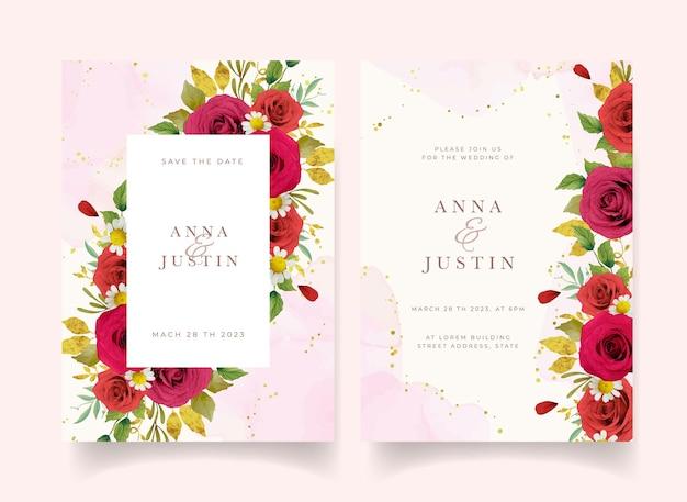 Invito a nozze con rose rosse acquerellate