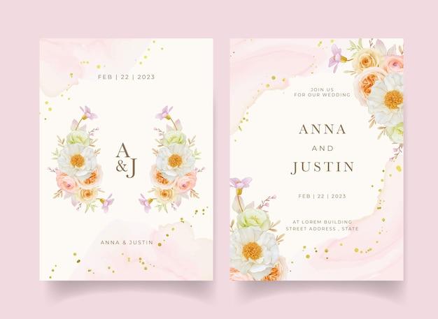 Invito a nozze con peonia rose dell'acquerello e fiore di ranuncolo