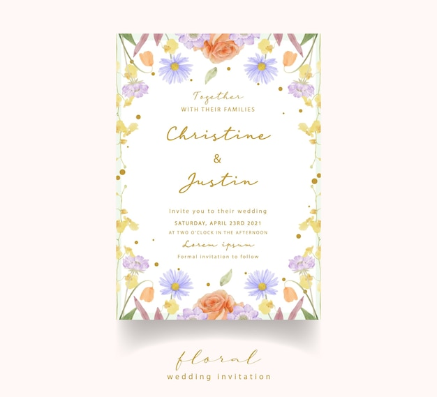 Invito a nozze con rose dell'acquerello, tulipani e fiori di scabiosa Vettore Premium