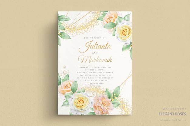 Invito a nozze con rose acquerellate