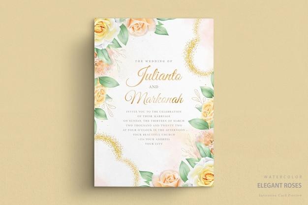Invito a nozze con rose acquerellate Vettore Premium