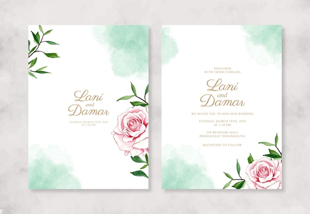 Invito a nozze con fiori e schizzi ad acquerello