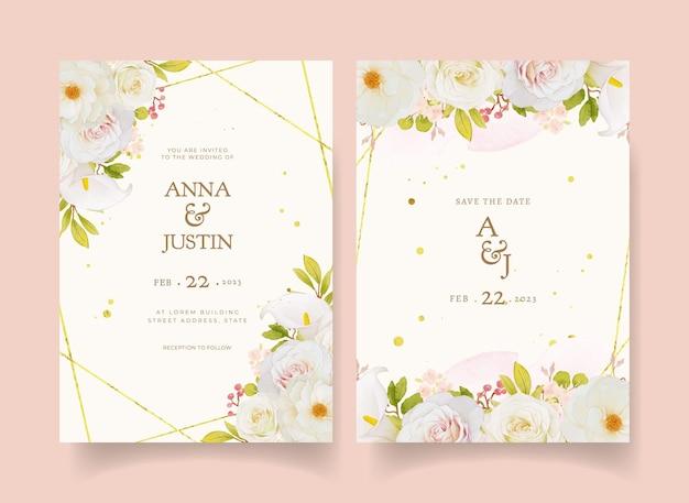 Invito a nozze con rose bianche acquerellate e calla
