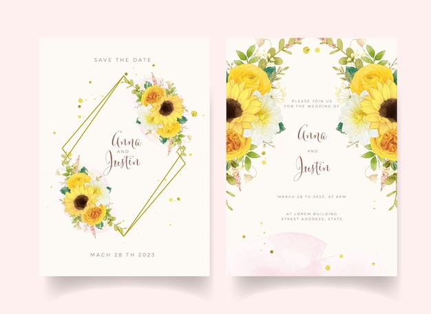 Invito a nozze con fiori gialli ad acquerello