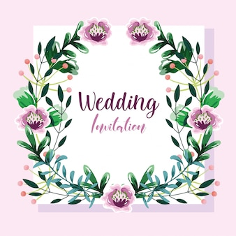 Invito a nozze, ghirlanda con fiori e foglie modello floreale
