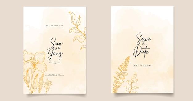 Modello di carta di inviti di nozze con floreale minimalista