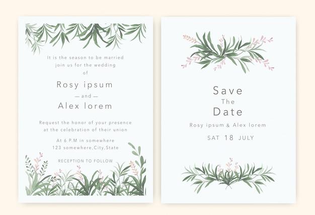 Gli inviti di nozze salvano la data card con l'elegante anemone da giardino.