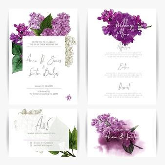 Modelli di kit di nozze quattro carte con fiori disegnati a mano