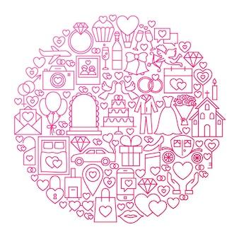 Disegno del cerchio dell'icona della linea di nozze. illustrazione vettoriale di oggetti d'amore.